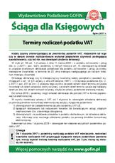 Terminy rozliczeń podatku VAT - Ściągi i Pomocniki dla księgowych