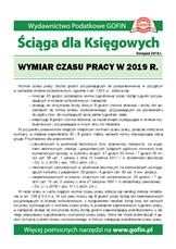 Wymiar czasu pracy w 2019 r. - Ściągi i Pomocniki dla księgowych