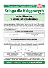 Leasing finansowy w księgach korzystającego - Ściągi i Pomocniki dla księgowych