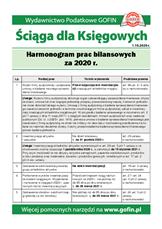 Harmonogram prac bilansowych za 2020r. - Ściągi i Pomocniki dla księgowych