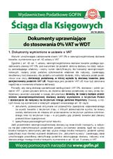 Dokumenty uprawniające do stosowania 0% VAT w WDT - Ściągi i Pomocniki dla księgowych