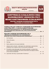 Kontynuacja działalności oraz rachunkowość jednostek przy braku kontynuowania działalności, Krajowy Standard Rachunkowości nr14. Stan prawny na 1września 2021r.