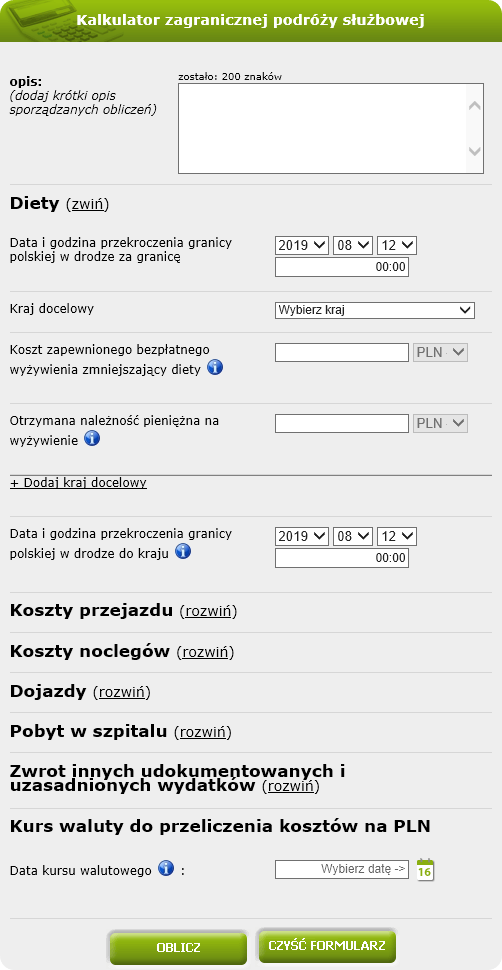 Kalkulator zagranicznej podróży służbowej