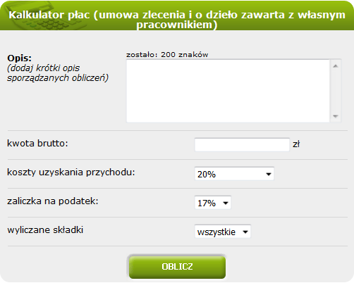 Kalkulator płac (umowa zlecenia i o dzieło zawarta z własnym pracownikiem)