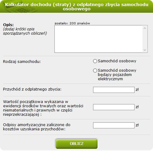 Kalkulator dochodu (straty) z odpłatnego zbycia samochodu osobowego