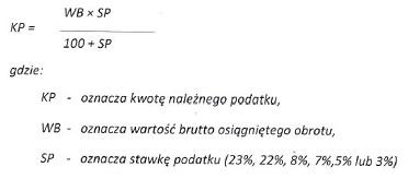 wzór obliczania stawki VAT od kwoty brutto